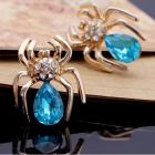 Ohrringe Crystal Spider - Golden/Blau