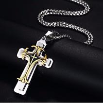 Herrenkette Vintage Cross - Silber/Golden