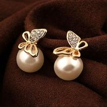 Ohrringe Pearl Butterfly - Golden