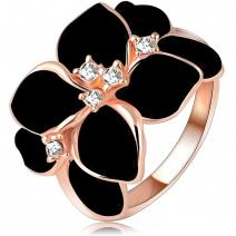 Ring Leaf Flower - Schwarz/51mm