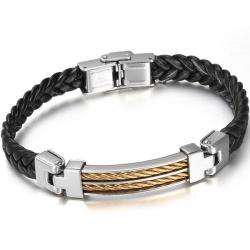 Herrenarmband Plaited - Schwarz/Golden