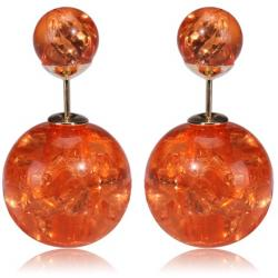 Ohrringe Double Bead - Kristall orange