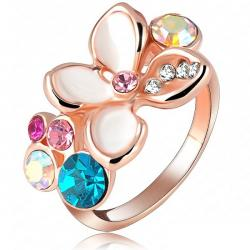 Ring Enamel Flower - Golden/53mm