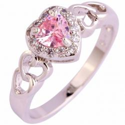 Ring Heart Ametyst - Silber/Rosa/65mm