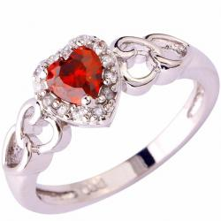 Ring Heart Ametyst - Silber/Rot/65mm