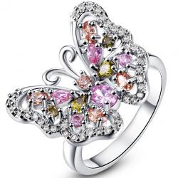 Ring Rainbow Butterfly - Silber/Multi/52mm