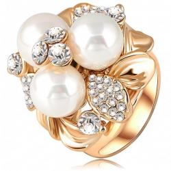 Ring Three Pearl - Golden/51mm