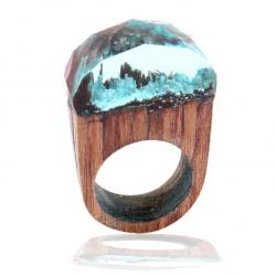 Ring Wood Resin Typ6-Türkis/59mm