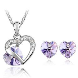 Set Heart Crystal - Violett