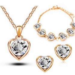 Set Love Heart - Golden/Kristall
