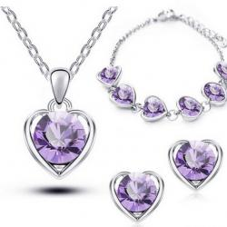 Set Love Heart - Silber/Violett