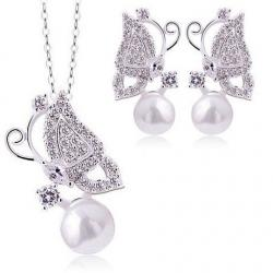 Set Pearl Butterfly - Silber