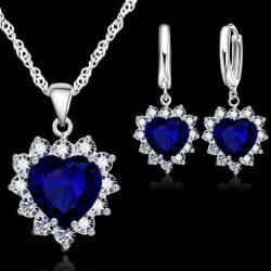 Set Zircon Heart - Blau