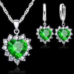 Set Zircon Heart - Grün