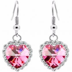 Zircon Heart Ohrringe-Rosa